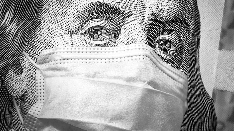 Humorous Image of Ben Franklin engraving wearing a surgical mask