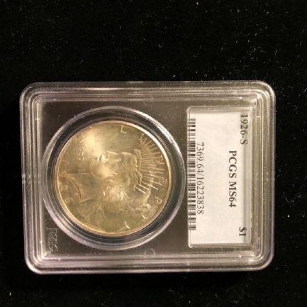 1926 S Silver Peace Dollar - MS 64 PCGS