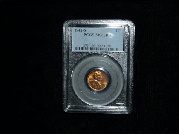 1942-S Wheat Penny in MS66 RD PCGS