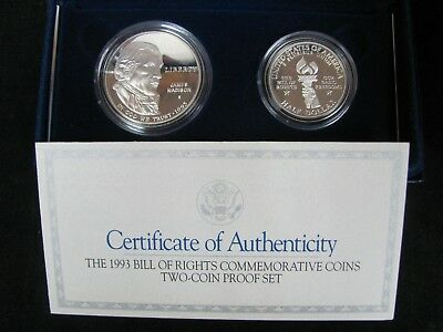 1993 Bill of Rights Proof Commemorative 2 Coin Set