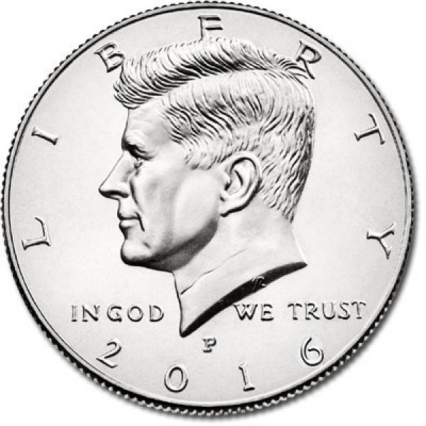 2016 Kennedy Half Dollar P mint mark