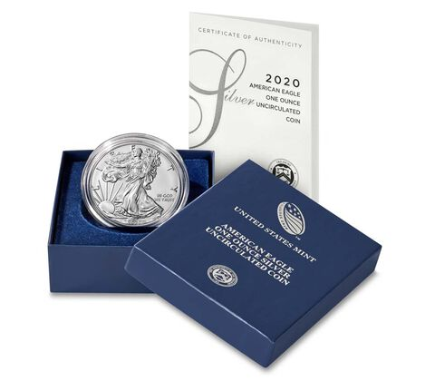 """2020 W Burnished """"Uncirculated"""" Silver American Eagle"""